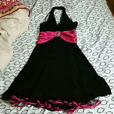Black and pink dress, tulle under the skirt Worn once, good for sweet 16s or for party's  let me know and I can give you a good deal! City Studio Dresses Midi