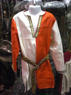 Boy's Linen Medieval Tunic  size 5/6  $38 Medieval Tunic, Boy Costumes, White Trim, Birthday Ideas, Looks Great, Boys, Fabric, Sleeves, Color
