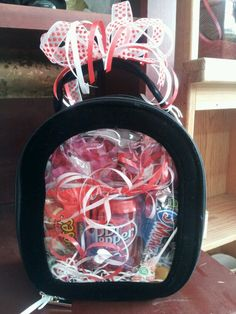 Candy and drink in a see through bag