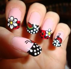 These unbelievably cute ladybugs were carefully painted on each of these nails, so if you're searching for a special nail art, perfect for spring, this is it! Ladybug nail designs are perfect for t. Cute Nail Art, Beautiful Nail Art, Cute Nails, Pretty Nails, You're Beautiful, Ladybug Nail Art, Butterfly Nail Art, Watermelon Nails, Toe Nail Designs