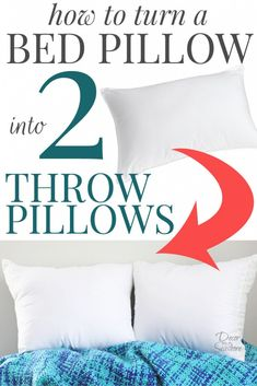 I had no idea it was so easy to turn a bed pillow into throw pillows! Throw pillows are so overpriced, and this easy tutorial shows you how to… Diy Throw Pillows, Sewing Pillows, How To Make Pillows, Decorative Pillows, Pillows On Bed, Pillow Headboard, Shirt Pillows, Diy Throws, Pillow Room