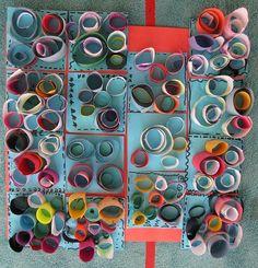 Color, collage, and much more: Cylinder Class Collaboration Murals For Kids, Art For Kids, Arte Elemental, Rolled Paper Art, Expressive Art, Preschool Art, Art Plastique, Art Activities, Teaching Art