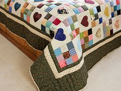 Green and Multicolor Hearts and Nine Patch Quilt Photo 7