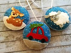 Felt christmas ornaments - set of 3 / blue background This listing is for 3 ornaments If you would like different combination of 3 ornaments, please message me or leave a note while placing an order. Size about 8 cm Material wool blend felt Handmade from felt with high precision and great care Please note that ornaments are decorated on one side only. Other side is solid blue. For more Christmas ornaments visit my Christmas section https://www.etsy.com/shop/DusiCr...