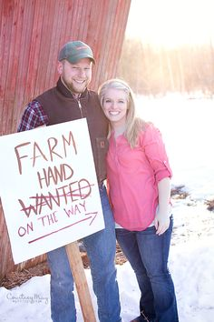 Pregnancy announcement, Pregnancy reveal, farm