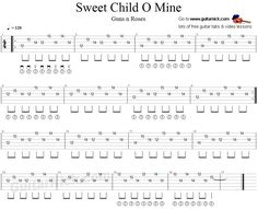 Learn to play here with free tablature and video tutorial the main electric guitar riff of Sweet Child O' Mine song by Guns n Roses. Tablature and chords. Guitar Tabs And Chords, Guitar Tabs Songs, Music Tabs, Easy Guitar Tabs, Guitar Notes, Ukulele Tabs, Music Songs, Music Theory Guitar, Guitar Sheet Music