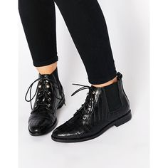 Truffle Collection Cece Lace Up Ankle Boots ($51) ❤ liked on Polyvore featuring shoes, boots, ankle booties, black croc, black lace up bootie, short black boots, black stretch boots, black bootie boots i black lace up boots