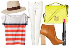Channel your inner Riviera-bound jet-setter with a striped shirt and brimmed hat. A bright lipstick and leather bootie keep things modern.