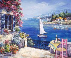 A Dream Called Italy Mural - Sharie Hatchett Bohlmann Landscape Drawings, Watercolor Landscape, Landscape Paintings, Watercolor Paintings, Mediterranean Paintings, Mediterranean Sea, Italy Art, Illustration Art, Illustrations