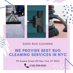 Get best rug cleaning services with soho rug cleaning to get ultimate cleaning carpet and rugs of your home . Call today at Rug Cleaning Services, Best Carpet, Cool Rugs, How To Clean Carpet, Soho, Rugs On Carpet, Home Appliances, Nyc, House Appliances