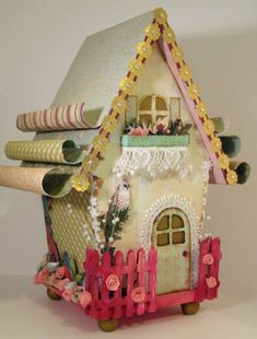 Using a wood bird house to make a fairy tale house...this would be a fun project!
