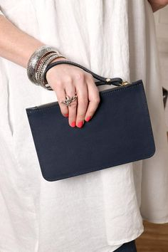 Italian Leather Clutch Bag with Wrist Strap in Black Leather Clutch Bags, Italian Leather, Evening Bags, Purses, My Style, Black, Fashion, Leather Bum Bags, Handbags
