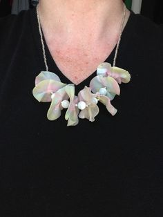 Unique Translucent Pink Yellow and Blue Polymer by VickieBeadia, $30.00