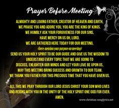 Prayer Before Meeting