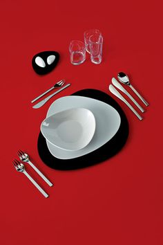 ALESSI Colombina collection * table set - Dinner in style! Mix and match colours: white and black