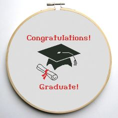 (10) Name: 'Embroidery : Graduation Cap Cross stitch pattern