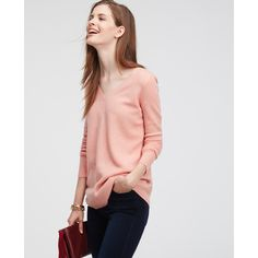 Ann Taylor Textured Double V Cashmere Sweater ($199) ❤ liked on Polyvore featuring tops, sweaters, fuzzy apricot heather, cashmere sweaters, long sleeve v neck sweater, v back sweater, cashmere tops and v-neck tops
