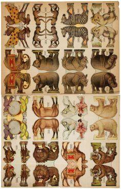 Vintage Paper Dolls, Vintage Circus, Vintage Art, Imprimibles Toy Story Gratis, Diy Doll Miniatures, Paper Art, Paper Crafts, Circus Art, Paper Animals