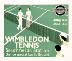Wimbledon Tennis is a hand pulled replica lithograph, by Art and the ReSociety, of the original 1933 advertising poster by Andre Edouard Marty. Wimbledon Tennis, Wimbledon 2017, Tennis Serve, Tennis Match, Vintage Sports Decor, Tennis Posters, Tennis Party, Fine Art Posters, Vintage Tennis