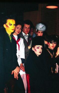 George, Vivienne Lynn, Chris Sullivan, Pinkie Tessa, Kim and Steve Strange at the Blitz in 1980