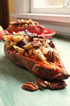 Tempeh Bacon and Apple Stuffed Sweet Potatoes. Perfect for Thanksgiving.