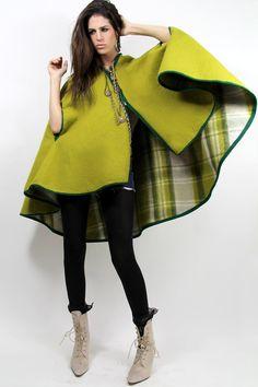 Vtg 60s REVERSIBLE Cape Blanket Coat Neon PLAID Wool Classic MOD  - Fierce Vintage Clothes by TatiTati Vintage on Etsy