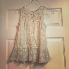 Shirt Cream colored lace tank Tops Tank Tops