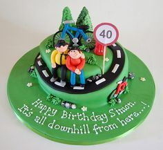 As cute as it is corny! The Road Cycling Cake - from Bicycle Cake, Bike Cakes, 40th Cake, Dad Cake, Dad Birthday Cakes, 50th Birthday, Sport Cakes, Beautiful Birthday Cakes, Novelty Cakes