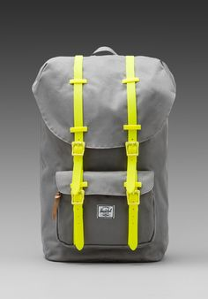 HERSCHEL SUPPLY CO. Weather Pack Little America in Grey/Yellow Rubber