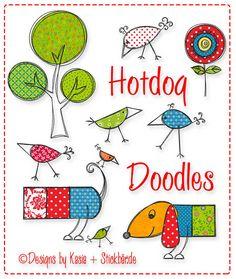 Der Stickbär   Hotdog Doodles   Stickmuster mit Herz