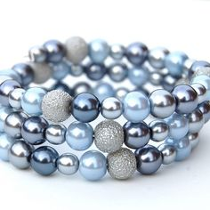 Blue, Grey and Silver Pearls Memory Wire Bracelet | Flickr - Photo Sharing!