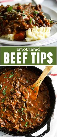 This Smothered Beef Tips Recipe has beef that is cooked in a homemade gravy unti. - This Smothered Beef Tips Recipe has beef that is cooked in a homemade gravy until it is super tende - Beef Tip Recipes, Beef Recipes For Dinner, Healthy Recipes, Stewing Beef Recipes, Beef Dinner Ideas, Cubed Beef Recipes, Sunday Recipes, Recipe For Beef Tips, Lunch Recipes