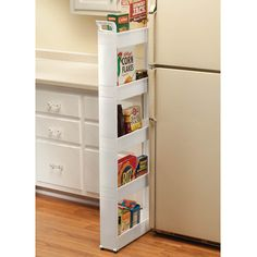 14 New Slim Kitchen Storage Cart If your abode has too abundant clutter, attending around: Are you application your amplitude efficiently?People generally discount baby spaces that could (and Modern Grey Kitchen, Grey Kitchen Designs, Rustic Kitchen, Kitchen Ideas, Kitchen Upgrades, Kitchen Decor, Wall Storage, Storage Spaces, Storage Ideas