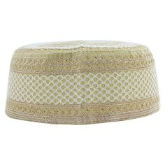 Tan Cotton with Light Brown and White Embroidery Muslim Prayer Mens Skull  Cap Kufi Islamic Hat Knit Topi f0578b5058