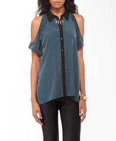 Cutout Contrast High-Low Shirt $22.80 #thefallmovement