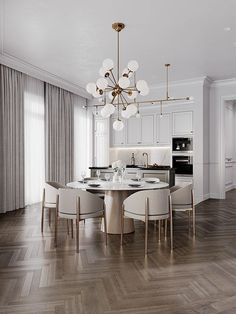 European style dining room and kitchen.