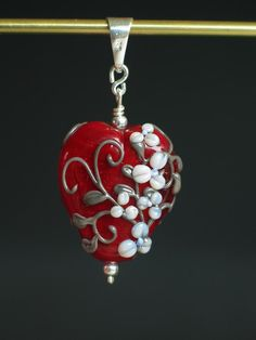 HANDMADE LAMPWORK Glass Bead Red Heart  PENDANT-