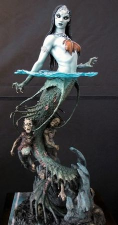 Death's Siren by MarkNewman.Here is the latest sculpture I did for the original line of sculptures 'Court of the Dead' from Sideshow collectibles. She stands around tall. Painted by the very talented Kat Sapene. Art Dolls, Siren Mermaid, Character Design, Fantasy Art, Mermaid, Mythical Creatures, Art, Mermaid Art, Creature Design