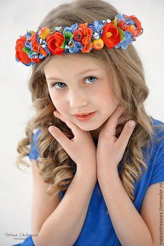 """Polymer clay flower tiara / Купить Венок для волос """"Прогулка по летнему лугу"""" - гортензия, ранункулюсы, венок, веночек на голову"""