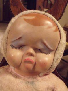 Vintage Antique Knickerbocker Rubber Face Pouty Sad Crying Stuffed Plush Doll   eBay