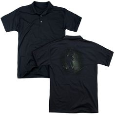 ARROW/IN THE SHADOWS (BACK PRINT) - MENS REGULAR FIT POLO - BLACK -