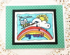 """You Color My World Greeting, Note Card, Rainbow, Bee, Sunshine, Artist, Paint, Friend, Love, Happy, Anniversary, Birthday, Teal - 5.5""""x4.25"""" by PaperDahlsLLC on Etsy"""