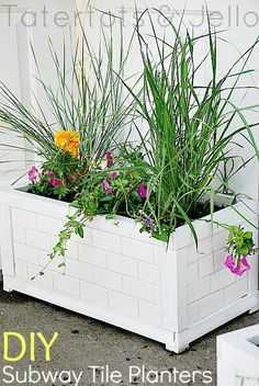 DIY Subway Tile Planters -- Tatertots and Jello