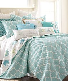 Coastal White & Teal Del Ray Quilt Set such sweet seaside/ beach house bedroom decor! I think I love every. single. pillow. - aqua sea glass starfish seahorse