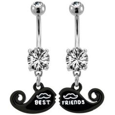 Black Mustache Best Friends Belly Button Rings
