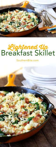 Hash browns, eggs, spinach, and chicken bacon combine to make this lightened-up version of a breakfast classic! #@simply