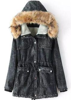 Abrigo denim con capucha bolsillos manga larga-negro