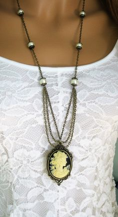 Vintage glamour sayings cameo necklaces