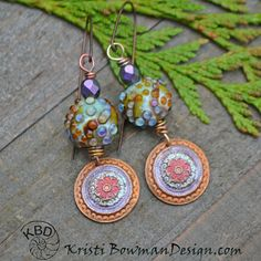 Bumpy Sea Urchin Lampwork Painted Copper by KristiBowmanDesign