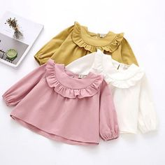 $7.69 - Baby Kids Girls Long Sleeve Solid Soft Toddler Kids Tops T-Shirt Warm Clothes #ebay #Fashion